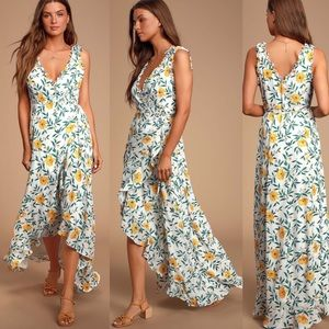 Lulu's White Floral Print High-Low Wrap Dress